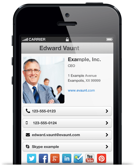 Create a free mobile-optimised digital business card with evaunt